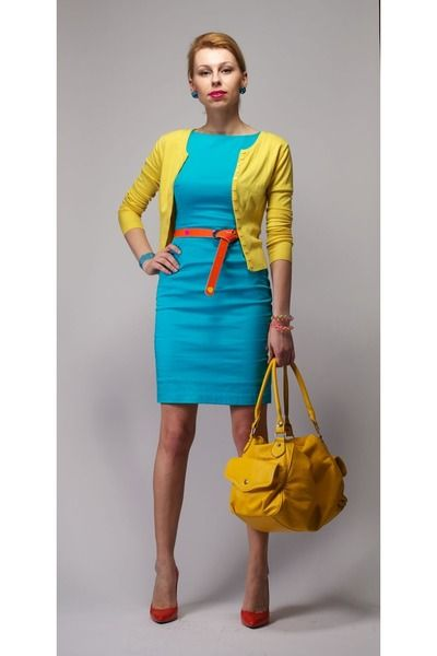 Turquoise-blue-mohito-dress-yellow-new-look-sweater-carrot-orange ...