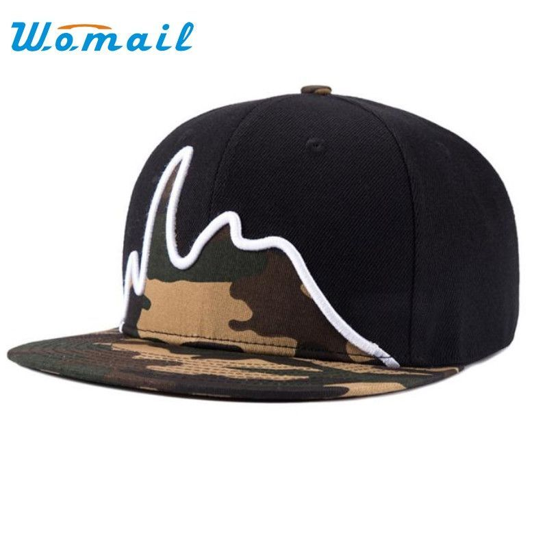 2ccf4444134 Unisex camouflage snapback adjustable hip hop baseball Black Flat ...