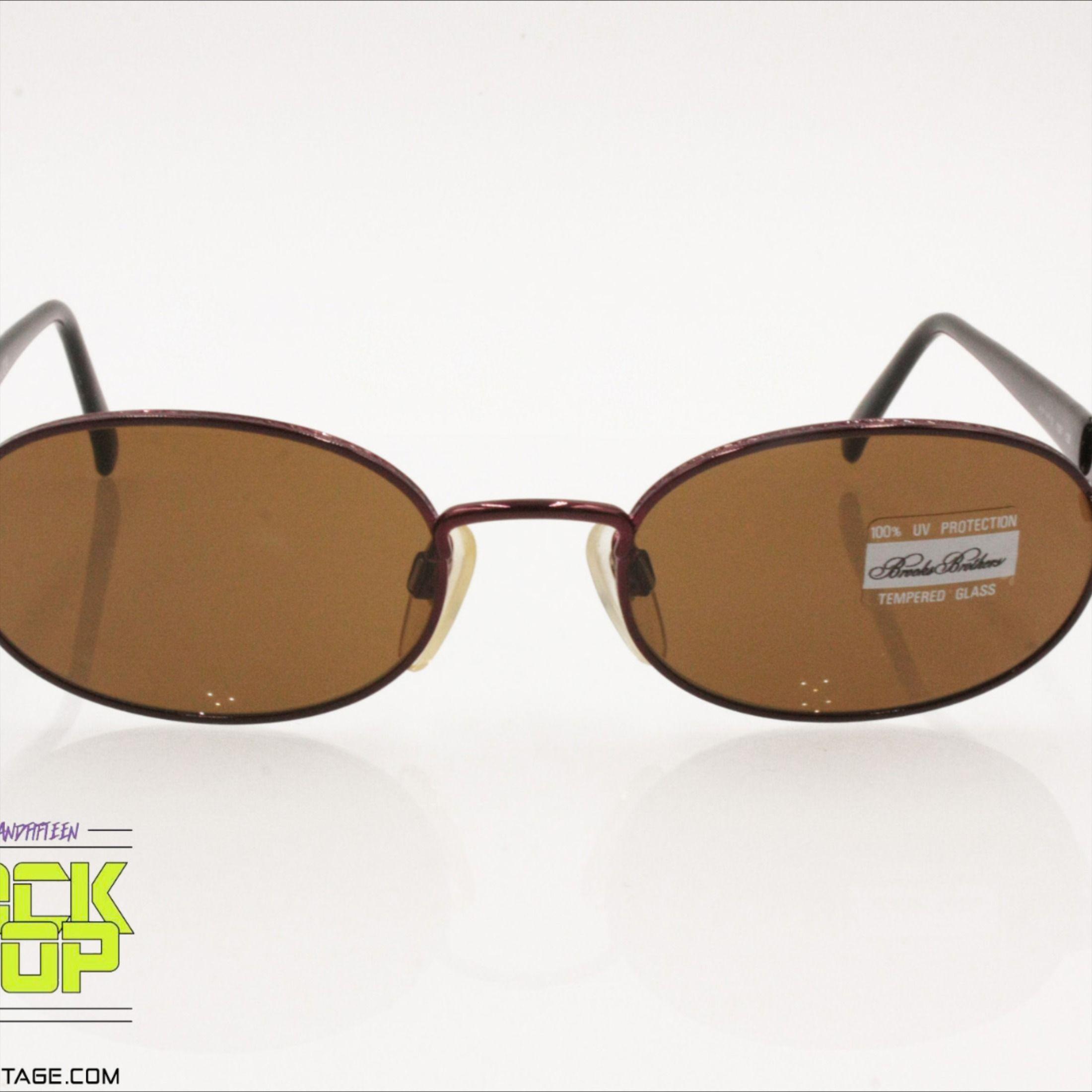 BROOKS BROTHERS mod. B.B. 180S Vintage oval sunglasses red metallic frame, New Old Stock