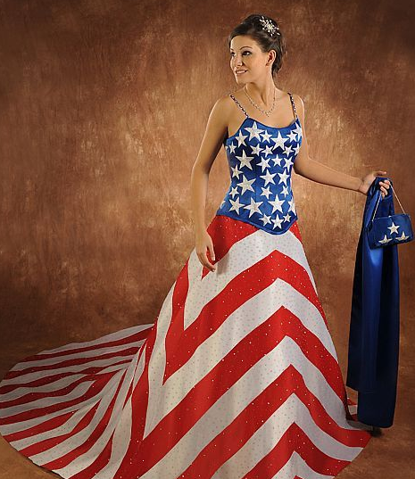 Pin By Kathy Mcclain On Proud To Be An American Worst Wedding Dress Patriotic Dresses Unusual Wedding Dresses