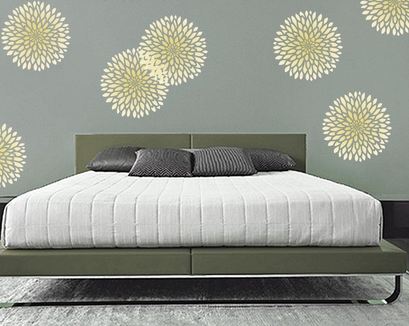 Bedroom Stencil Ideas. Flower STENCIL for Walls  Chrysanthemum no 2 3 SIZES stencil Reusable Modern Wall Decor