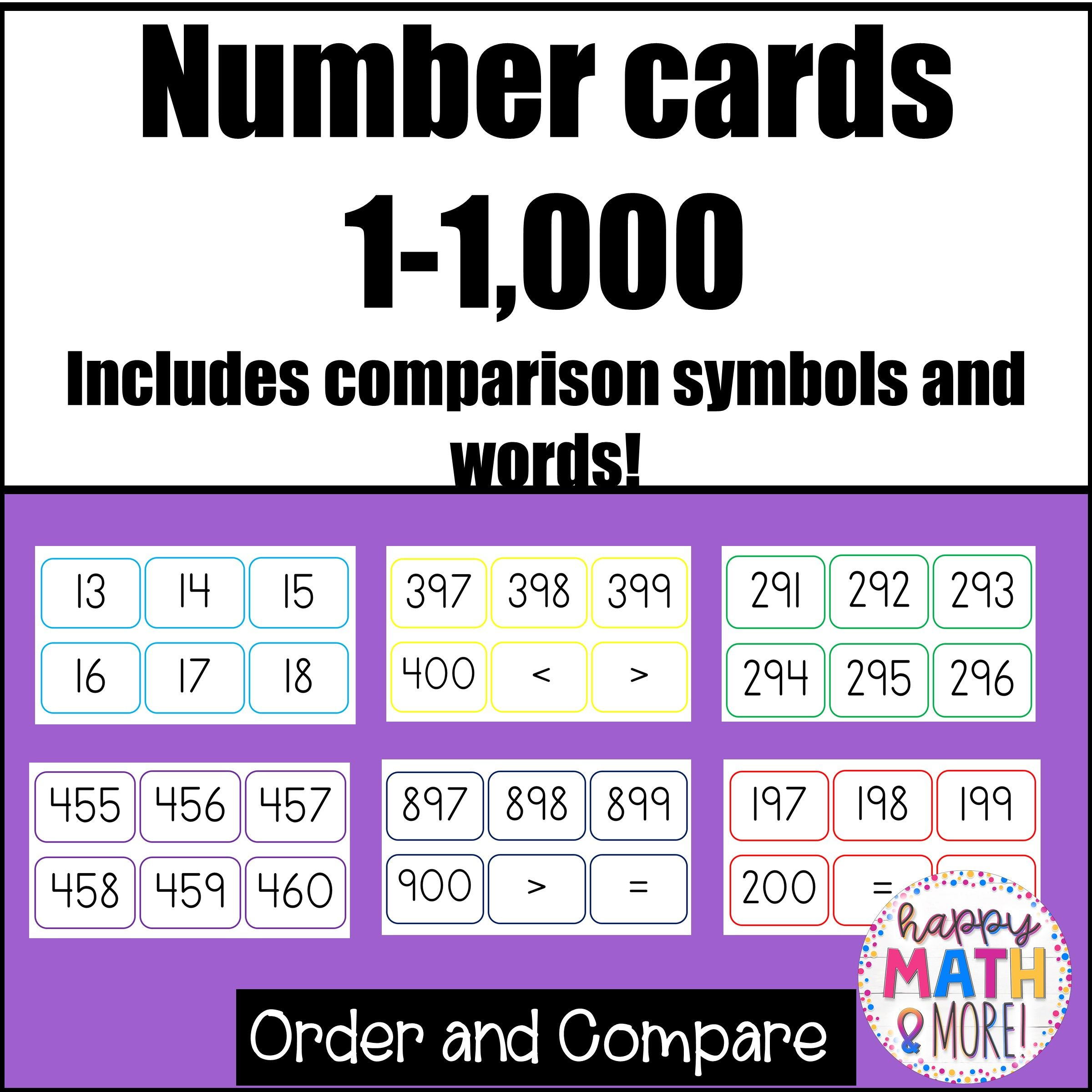 Number Cards 1 1 000 Upper Elementary Math Math Activities
