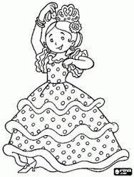 Resultado De Imagen De Esquema Traje Gitana Patchwork Paginas Para Colorear Flamenco Dibujo Dibujos Musicales