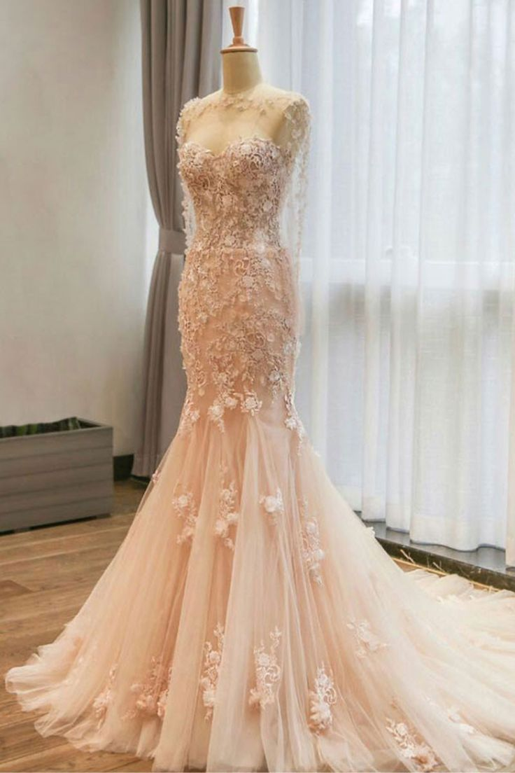 Champagne tulle lace mermaid long prom dress champagne wedding