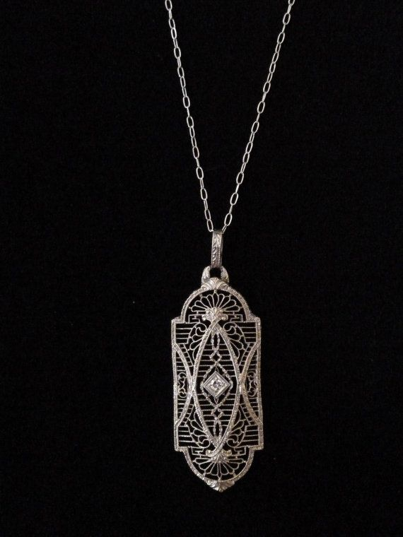 Antique Nouveau Art-deco Platinum White Gold Diamond Pearl Drop Pendant Necklace Antiques