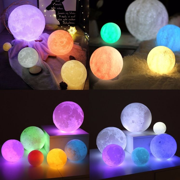 3d Printed Moon Lamp Led 16 Colors Rgb Moon Night Light Lamp Remote Touch Control Dimmable Color Changing Us Night Light Lamp Moon Nightlight Cool Lamps