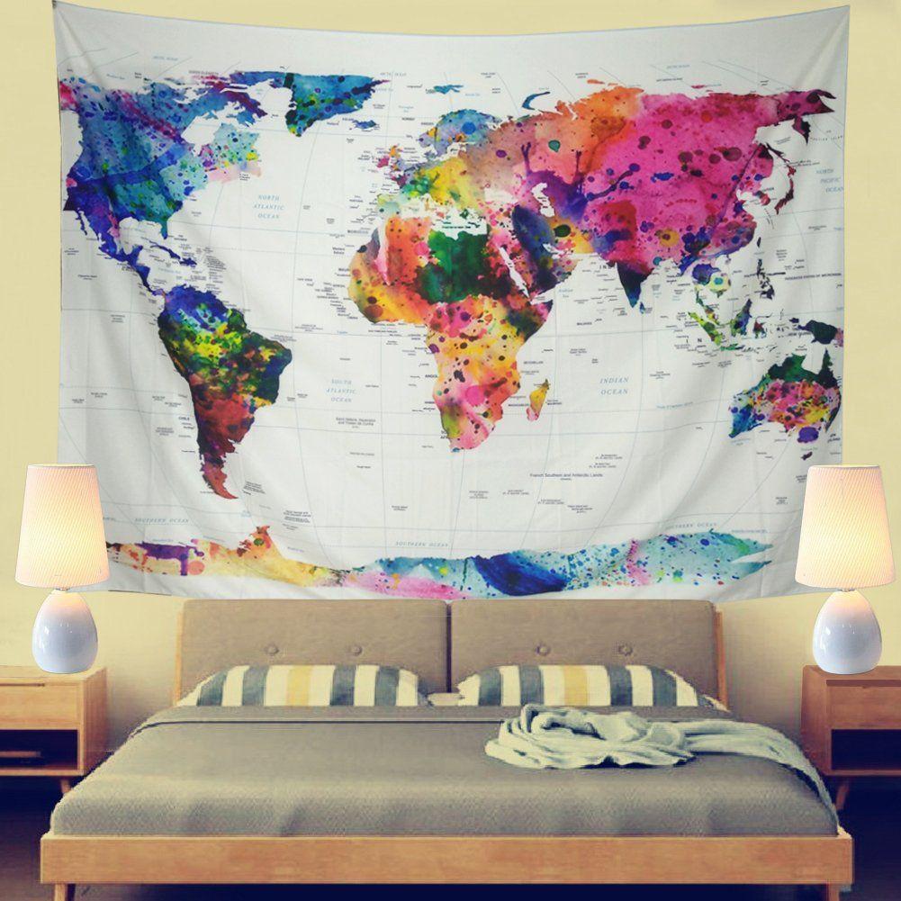 Leofanger World Map Tapestry Wall Hanging Vintage Watercolor Colorful Tapestry World Wall Tapestries Colorful Tapestry World Map Tapestry Family Rules Wall Art