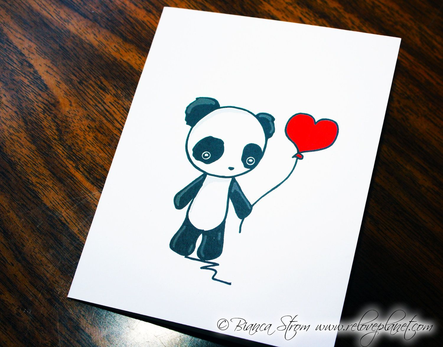 Love Balloon Panda Card Birthday Anniversary Congratulations