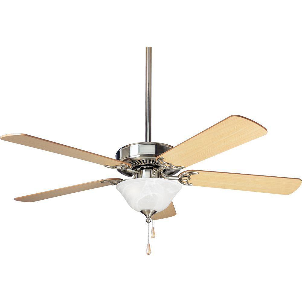 Progress Lighting Airpro Builder 52 In Indoor Brushed Nickel Modern Ceiling Fan P2522 09 The Home Depot Ceiling Fan Brushed Nickel Ceiling Fan Ceiling Fan With Light