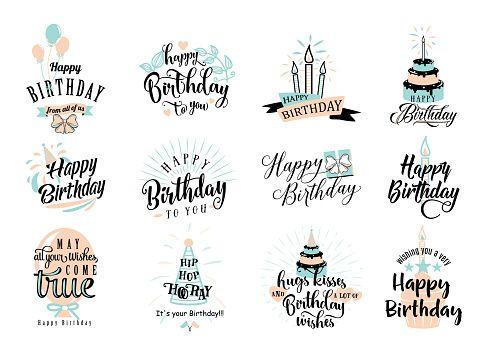 Vector Illustration Of Happy Birthday Badge Set Design Element For Greeting Cards Banner Print Happy Birthday Typography Happy Birthday Signs Birthday Badge
