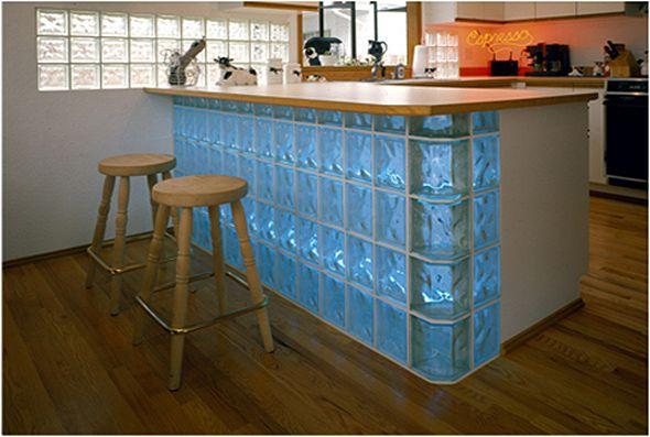 Decoracao Com Blocos De Vidro Bar Interior Cozinha Americana