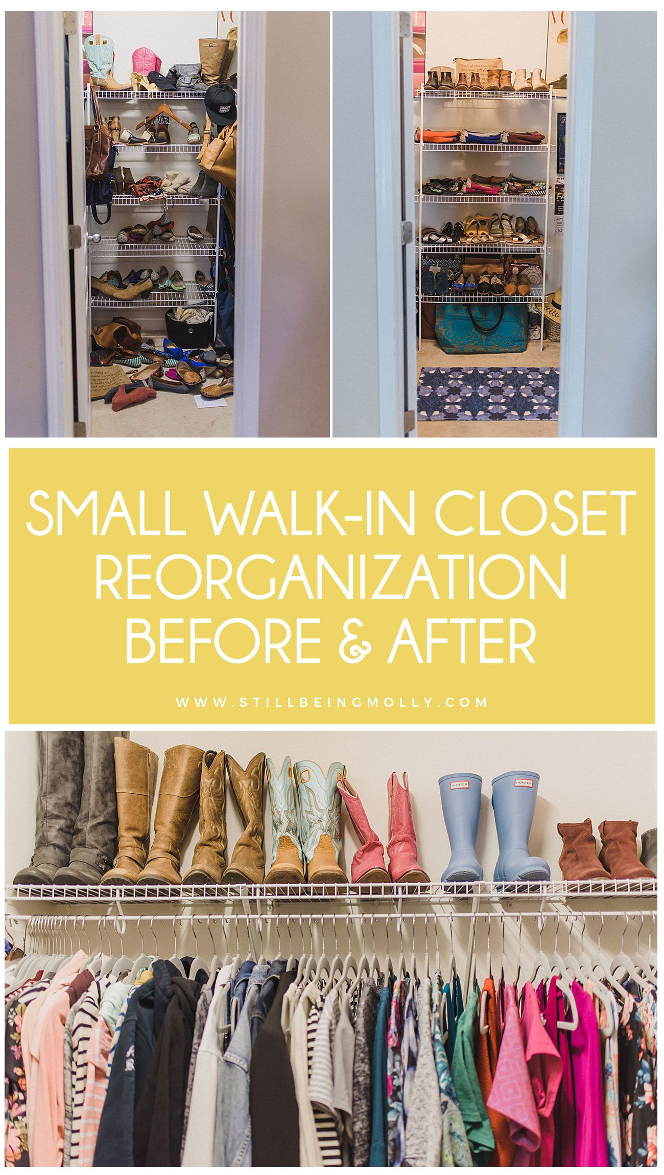 Closet Organization Before After Still Being Molly Closet Organization Small Bedroom Organization Small Walk In Closet