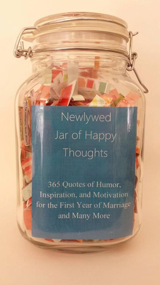 Newlywed Jar of Happy Thoughts Humorous Motivational