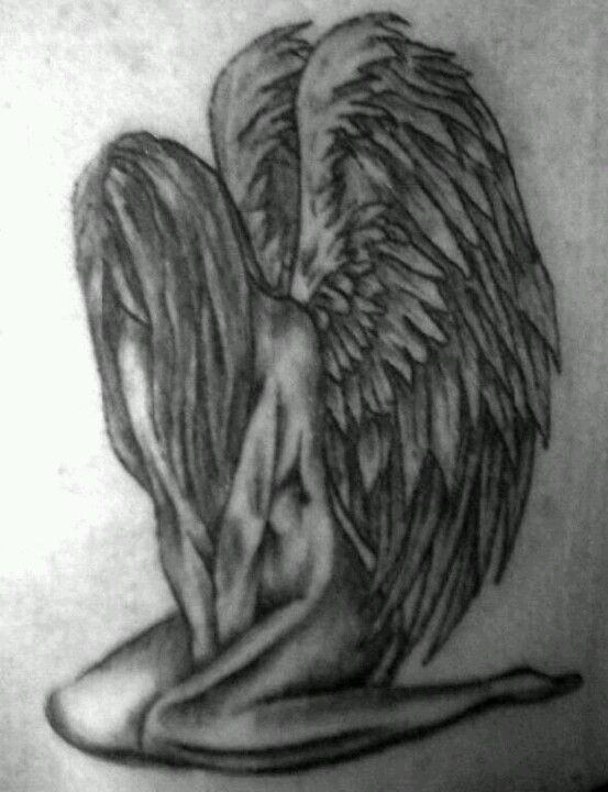 my angel tattoo black and white photography pinterest gefallene engel tattoo r cken und. Black Bedroom Furniture Sets. Home Design Ideas