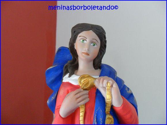 Nossa Senhora Das Graças, Pintada A Mão Em Gesso, Colorida