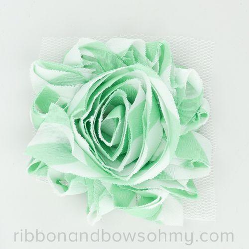 Ribbon And Bows Oh My! Mint <3 17 colors of #chevron Shabby Chiffon Flowers! #chiffonflower #shabbychic #mint