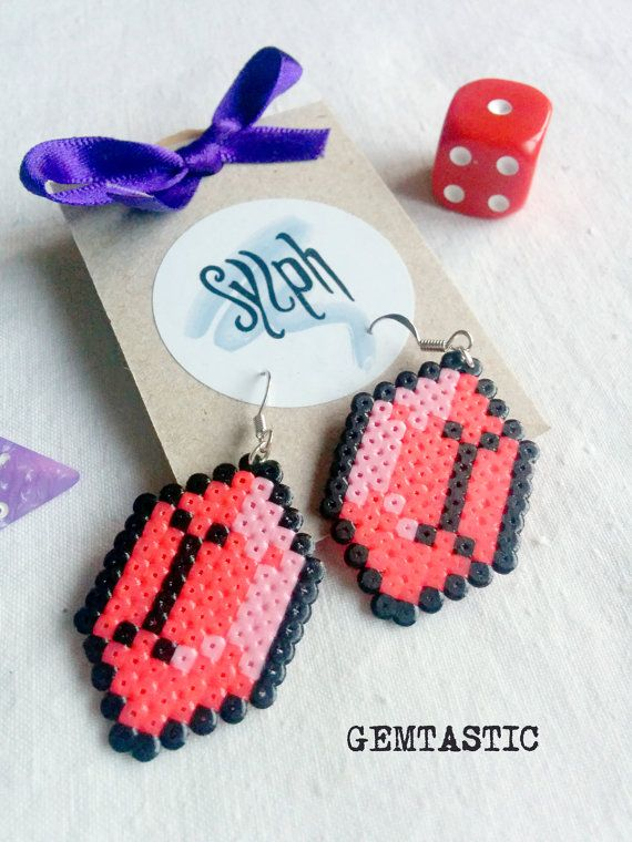 Bright pink geeky 8bit Zelda game inspired Gemtastic earrings in an emerald shape made of Hama Mini Perler Beads by SylphDesigns on Etsy