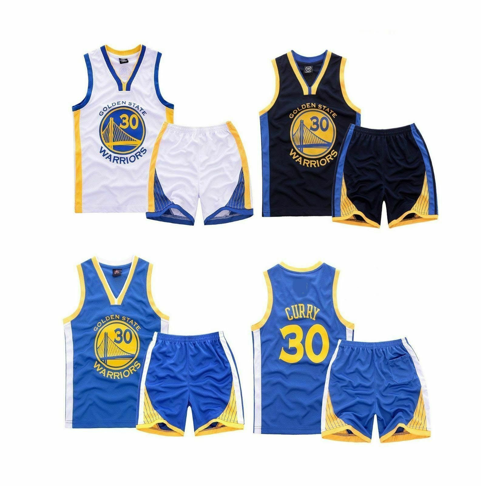 Kids Basketball Jerseys Set NBA Warriors #30 Curry Basketball Uniform Summer Shirt Vest Top Shorts for Boys and Girls