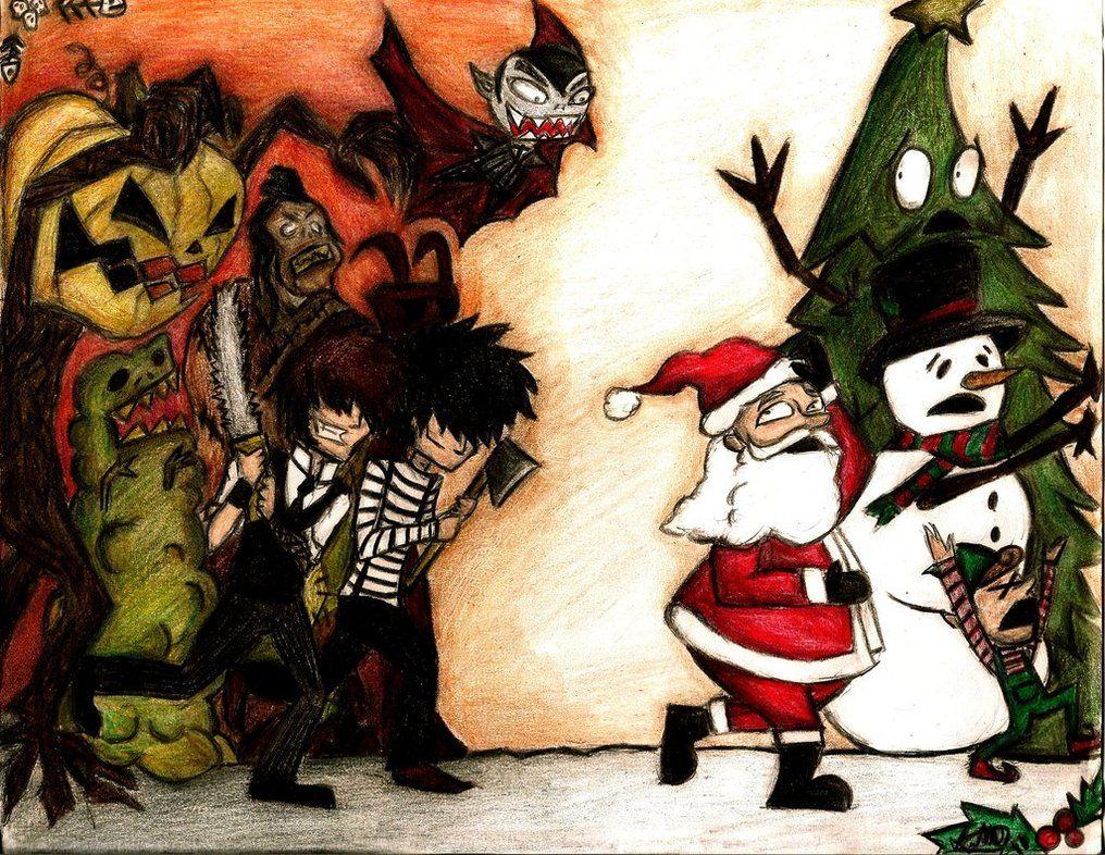 creature feature halloween vs christmas by lookalivezombie on deviantart - Halloween Christmas