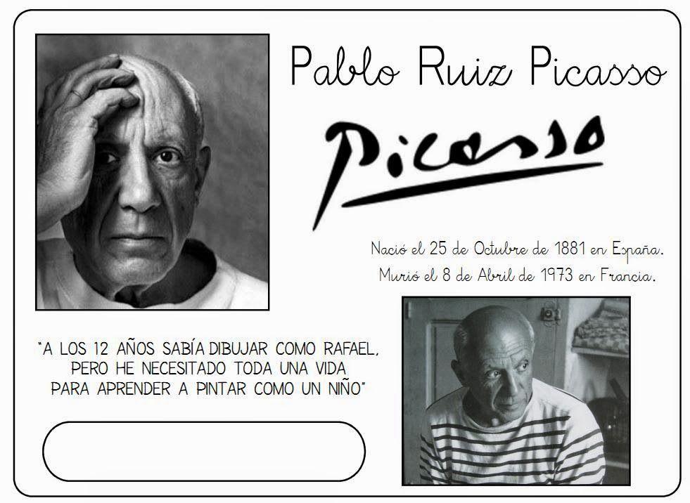 Pablo Picasso Para Ninos Cuadros Para Colorear Caricaturas Y