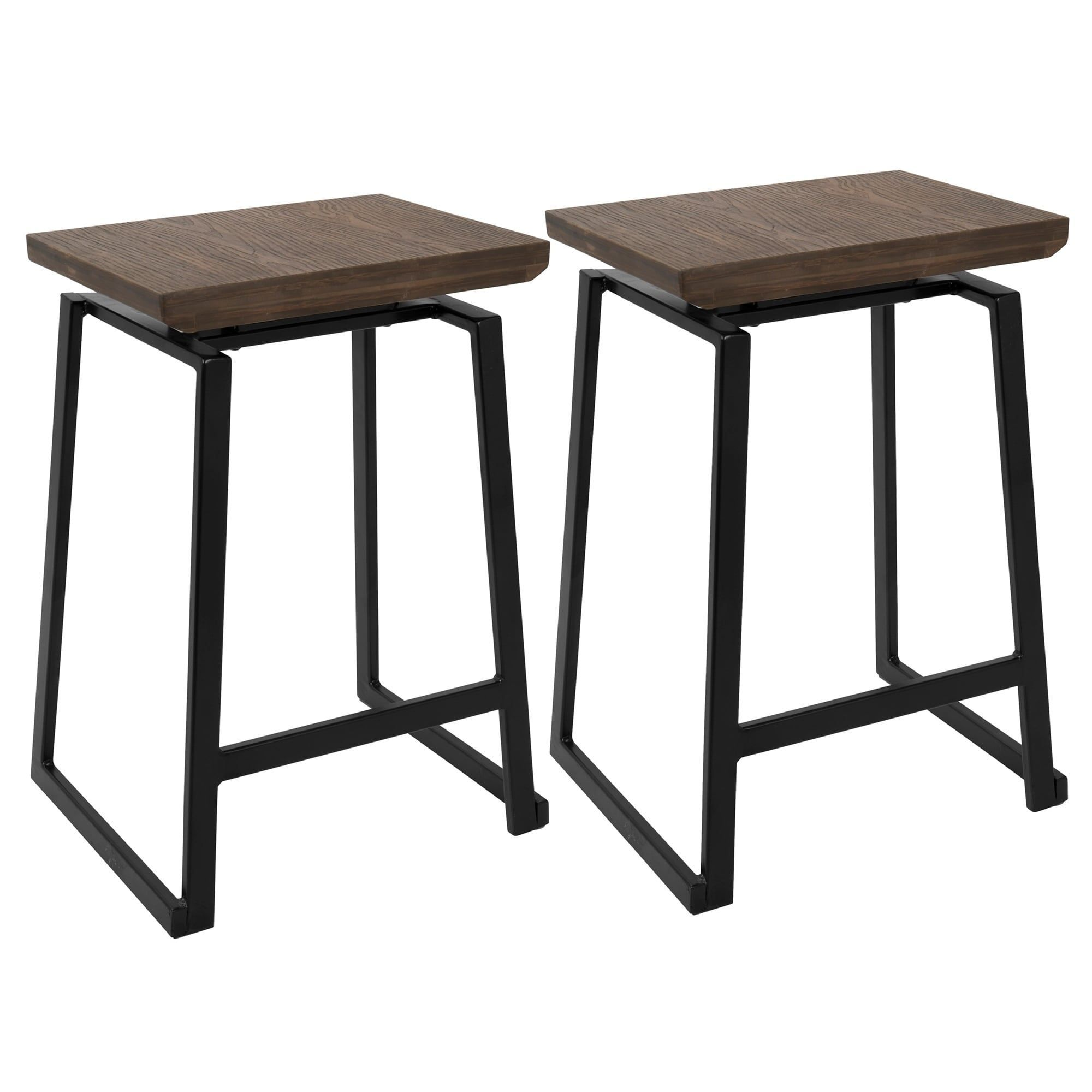LumiSource Geo Industrial Metal and Wood Counter Stool (Set of 2), Black