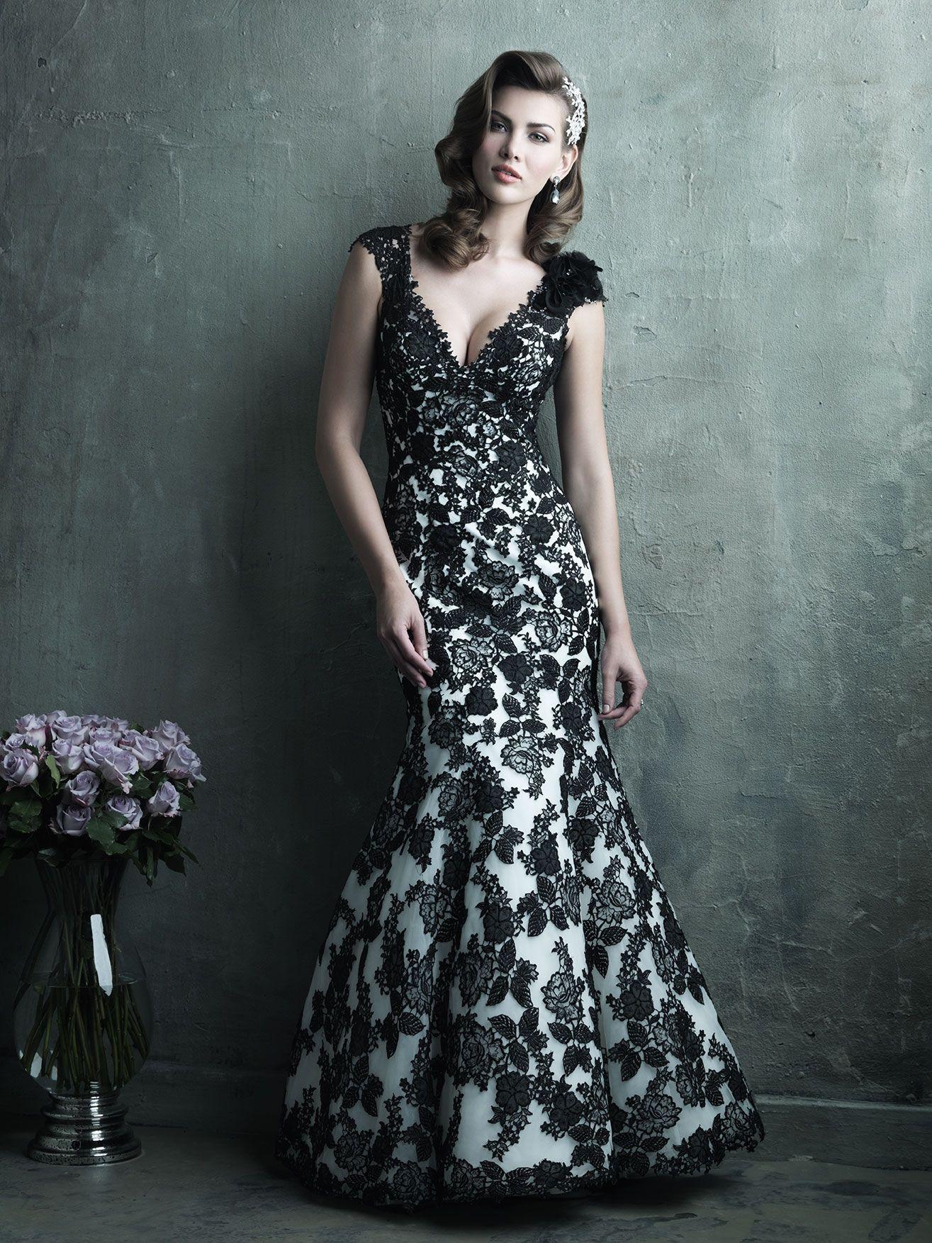 Allure Bridals Black White Organza Lace Applique Trumpet Gown