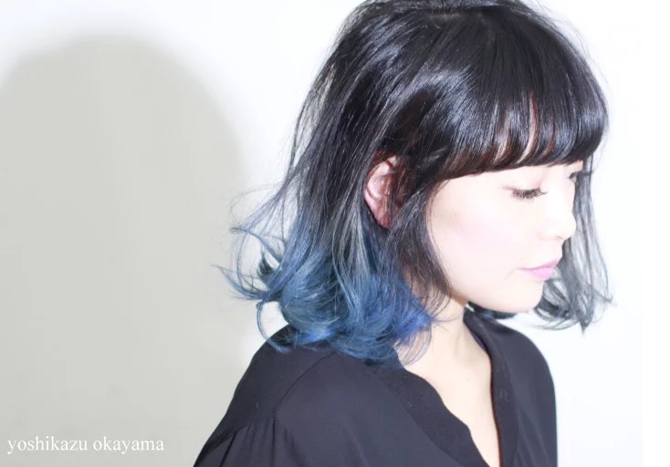 Blue Frosted Ombre For Black Hair Dip Dye Hair Dipped Hair Short Hair Color