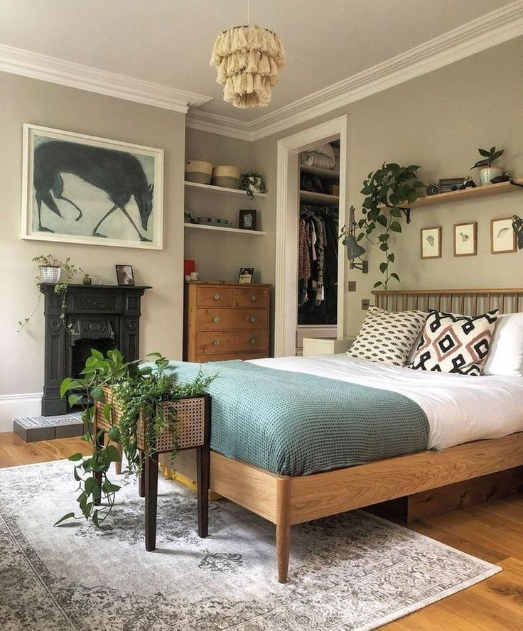 I love the green color in 2020 | Bedroom design, House interior, Home bedroom