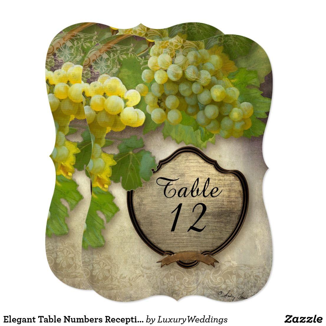 Elegant Table Numbers Reception Grapes Vineyard