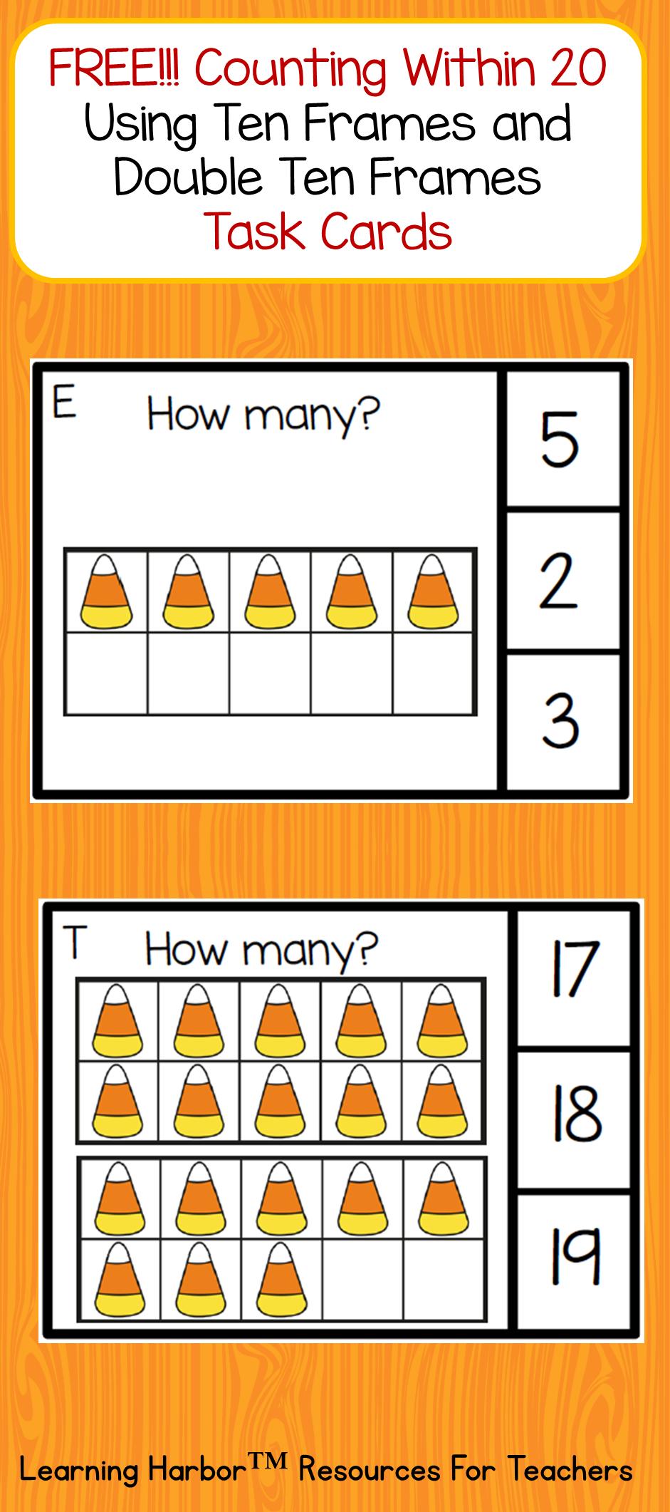 Double Ten Frame Worksheets For Kindergarten