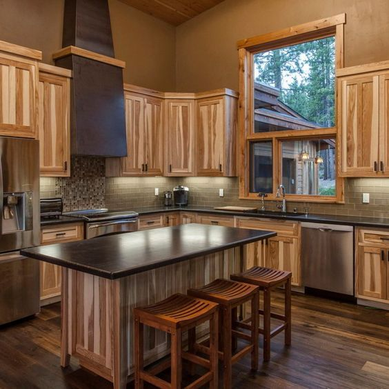 Dark Kitchen Cabinets Light Floors: Hickory Cabinets With Dark Wood Floors