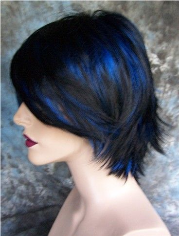 Large Fit Goth Jet Black With Blue Highlights Wig Wigs Ebay