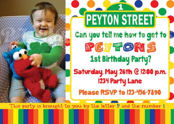 Sesame Street Birthday Invitation Primary Colors