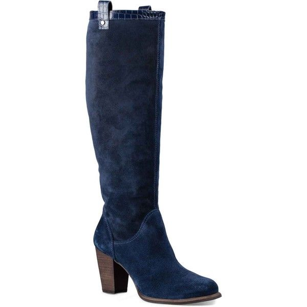 UGG Women's Ava Croco Navy Boots ($225) ❤ liked on Polyvore featuring shoes,