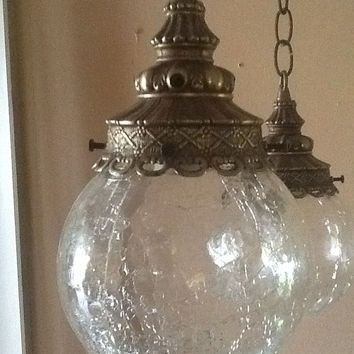 Antique Vintage Hanging Light Fixture 2 Cracked Glass Globes 1930s ...
