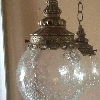 Antique Vintage Hanging Light Fixture 2 Cracked Glass Globes 1930s Hanging Lights Light Fixtures Hanging Light Fixtures