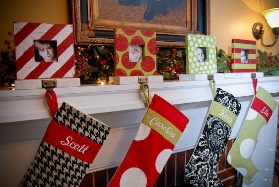 love these stocking holders could make with dollar frames at michaels use extra cabinet knobs - Michaels Christmas Stockings