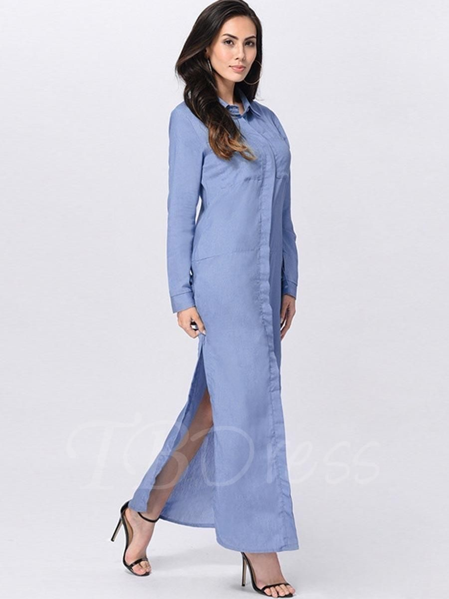 Tbdress tbdress blue lapel splits womens maxi dress adorewe