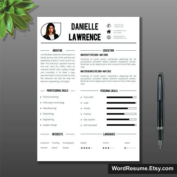 Modern Resume Template + Cover Letter Word, CV Template, Creative