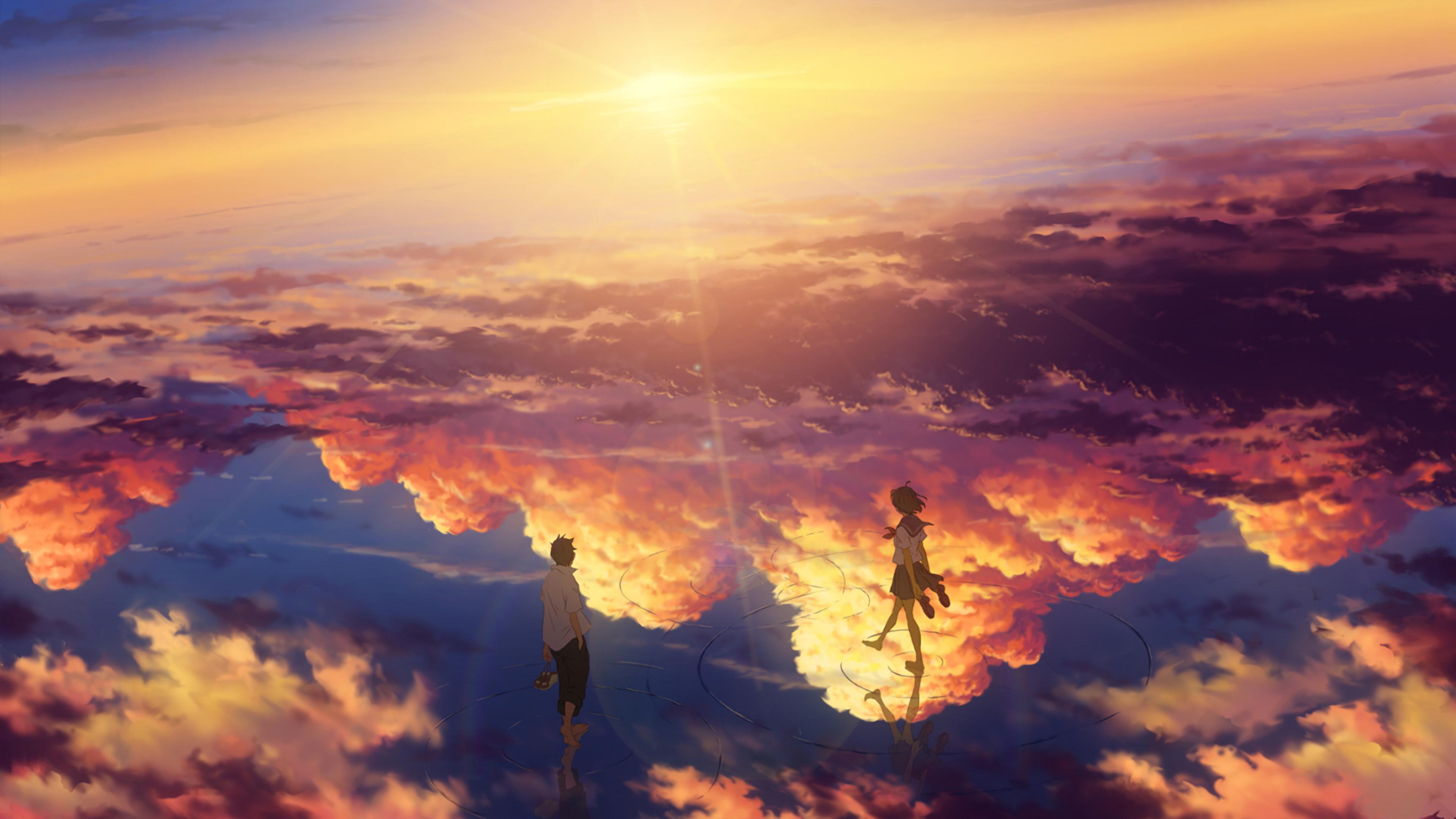 Wallpaper Anime, Girl, Blond, Sunset, Water, Landscape HD