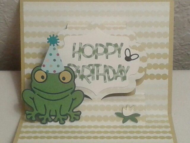 Inside of masculine birthday card. Lorna Label pop up die, Hoppy the Frog die and Props 2 die from Karen Burniston.