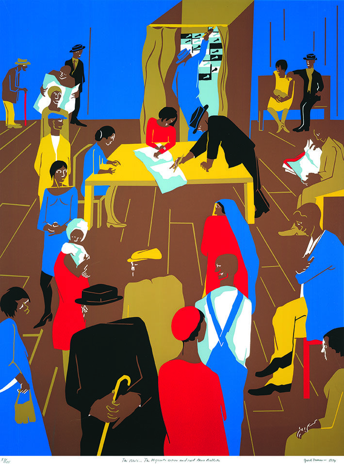 """Jacob Lawrence (American, 1917–2000), """"The 1920's...The Migrants Cast Their Ballots,"""" 1974, serigraph print on paper, 34 3/8 x 26 in., Joslyn Art Museum, Gift of Lorillard, A Division of Loews Theatres, Inc., 1975.97 © The Estate of Gwendolyn Knight Lawrence / Artists Rights Society (ARS) New York"""