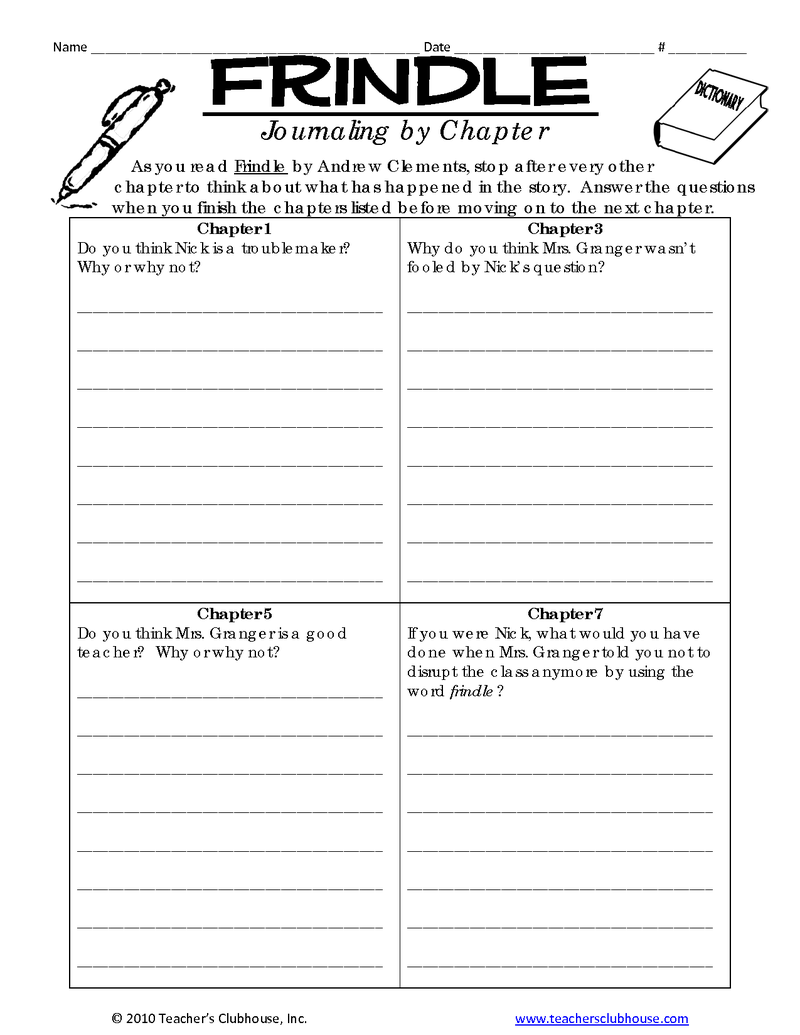 small resolution of Frindle Journaling by Chapter   BetterLesson   Frindle novel study
