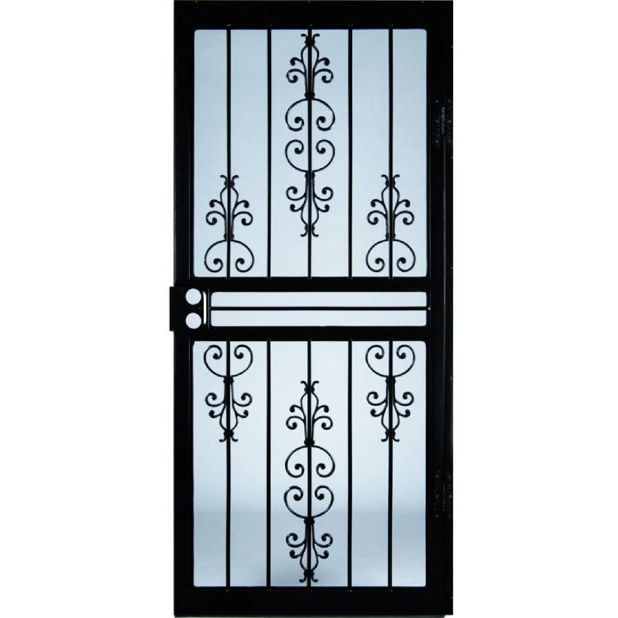 Larson Garden View Black Steel Recessed Mount Single Security Door Common 32 In X 81 In Actual 31 75 In X 79 75 In Lowes Com Security Door Storm Door Steel Security Doors