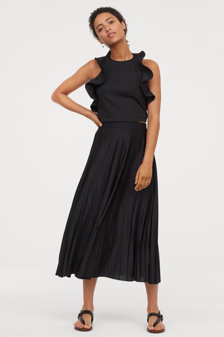 e2114b75 Plisowana spódnica z dżerseju in 2019   ciuszki   Spódnica, Czarny