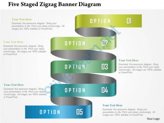 Five Staged Zigzag Banner Diagram Powerpoint Template Slide