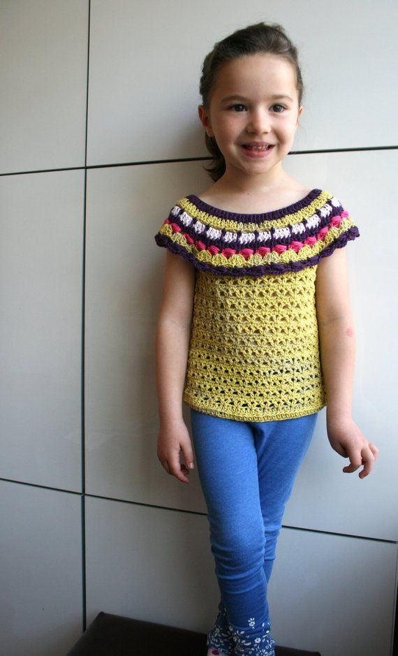 Crochet pattern, crochet girls top pattern, spring/summer crochet top pattern, 7 sizes from baby 3 months to 5 years Instant Download 176