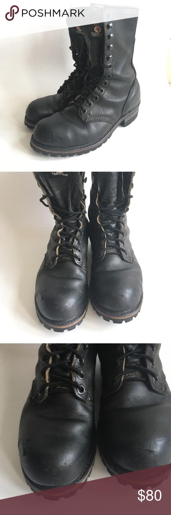 Carolina Boot • Vtg Leather Black Logger Boots Logger