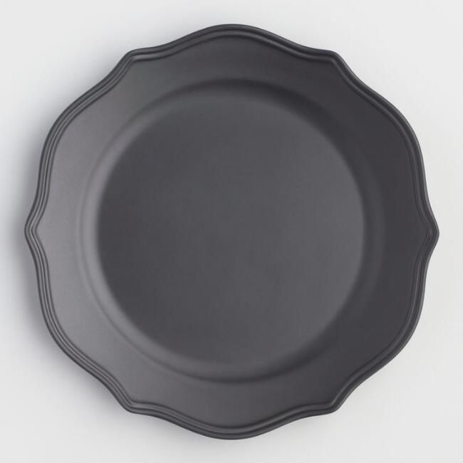 Matte Black Baroque Melamine Plates Set Of 6 V1 Black Dinnerware Gothic Dinner Dinnerware