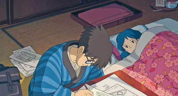 "Jiro working on his aircraft designs by Naoko's side - ""The Wind Rises"" (2013)"